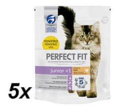 Perfect fit suha hrana za odraščajoče mačke Junior, s piščancem, 5 x 750 g