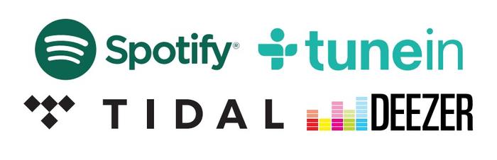 Spotify, TuneIn, TIDAL a Deezer.