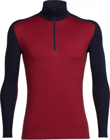 Icebreaker Mens Tech Top LS Half Zip Oxblood/Midnight Navy M