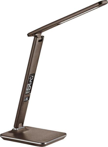 Solight LED stolní lampička s displejem 9W vzhled kůže, hnědá