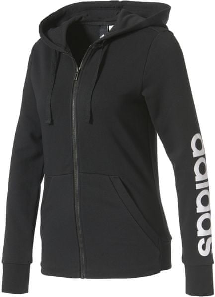 Adidas ESS Linear Full Zip Hoodie Black/White S