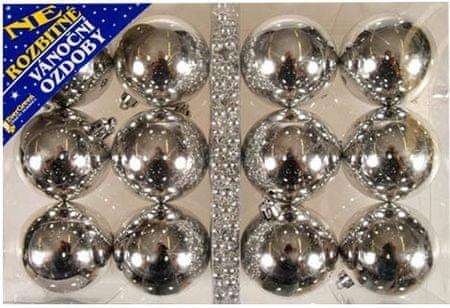 EverGreen Božični okraski krogle 12 kosov + veriga, srebrna