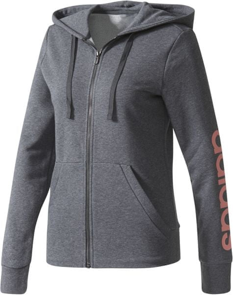 Adidas ESS Linear Full Zip Hoodie Dark Grey Heather L