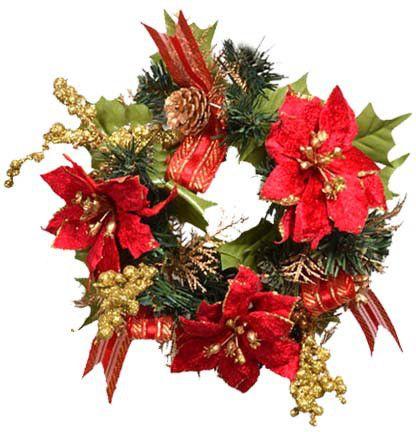 EverGreen Vánoční věnec 20 cm, červená