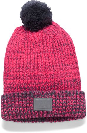 Under Armour czapka Girls Shimmer Pom Beanie Penta Pink Apollo Gray Silver