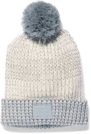 Under Armour Girls Shimmer Pom Beanie Ivory Steel Silver
