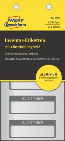 Avery Zweckform etikete za označevanje inventarja, aluminijske, 6920, črna obroba, 50 x 20 mm, 50 etiket/zavitek