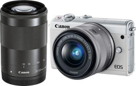 Canon aparat bezlusterkowy EOS M100 + 15-45 mm + 55-200 mm, biały