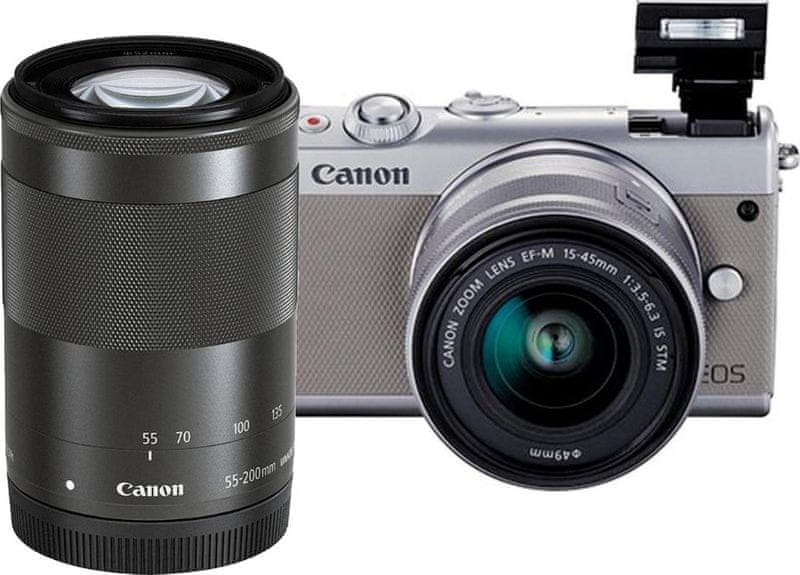 Canon EOS M100 + 15-45 mm + 55-200 mm Gray