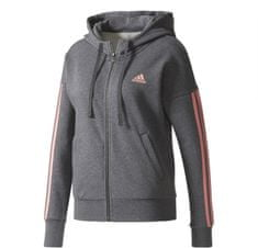 Adidas Ess 3 Stripes Full Zip Hoodie Dark Grey Heather/Tactile Rose