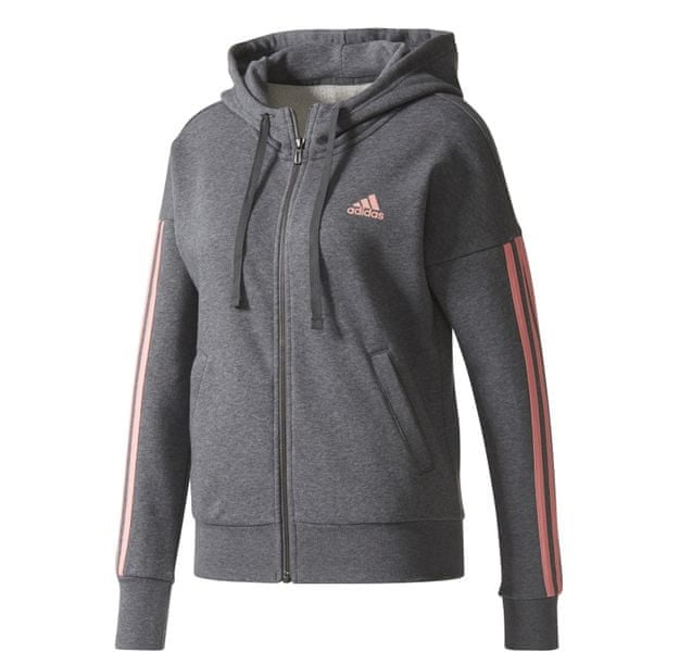 Adidas Ess 3 Stripes Full Zip Hoodie Dark Grey Heather/Tactile Rose L