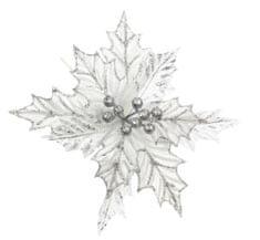 Seizis Kvet dekoračný s trblietaním strieborný, 23cm, 5ks
