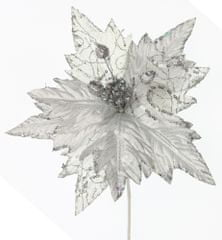 Seizis Květ dekorační se třpytem stříbrný, 25cm, 4ks