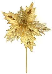 Seizis Kvet dekoračný s leskom zlatý, 37cm, 5ks