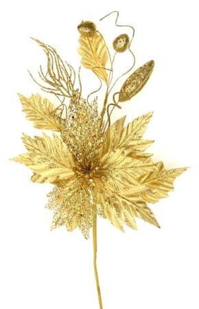 Seizis Květ dekorační se třpytem zlatý, 45cm, 3ks