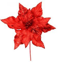 Seizis Květ dekorační se třpytem červený, 30cm, 4ks