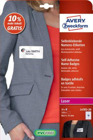 Avery Zweckform etikete za imena L4783-20, 88.9 x 31 mm, acetatna svila, 320 etiket/zavitek, 20 listov/zavitek