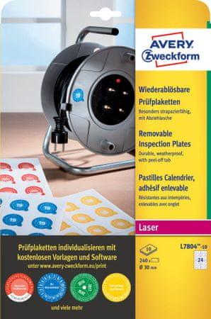 Avery Zweckform odstranljive kontrolne etikete L7804-10, Ø 30 mm, 240 etiket/zavitek