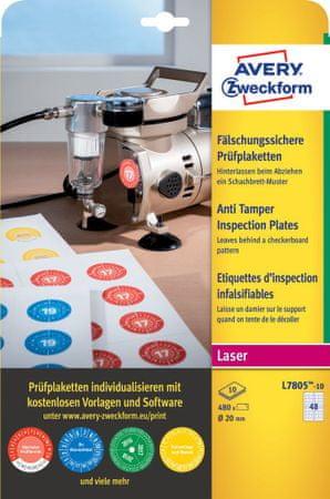 Avery Zweckform kontrolne etikete Anti Tamper L7805-10, Ø 20 mm, 480 etiket/zavitek