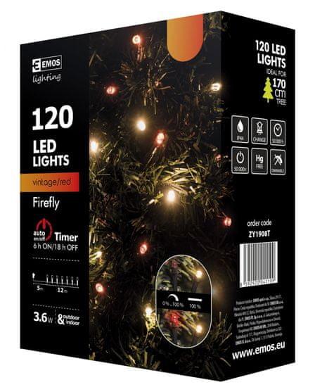 Emos 120 LED svetlobna veriga kresničke, 12 m, IP44, vintage/rdeča, utripajoča, s časovnikom, črna