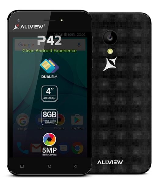 AllView P42, Dual SIM, černý