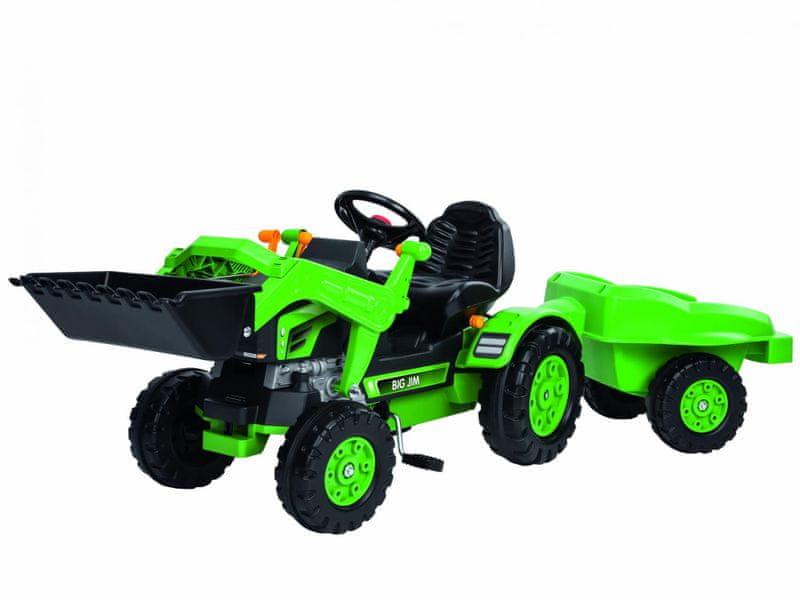 BIG Šlapací traktor Jim se lžící a vozíkem