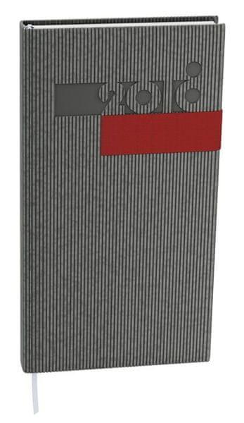 Diář denní Filip vigo kapesní šedý, červená gumička