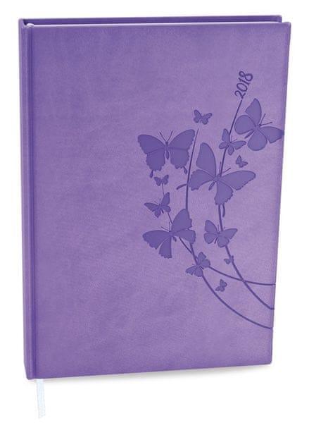 Diář denní Adam Vivella s ražbou B6 světle fialový - motýli