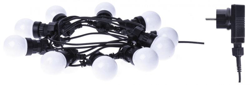 Emos LED světelný řetěz – 10× párty žárovky mléčné, 5 m, teplá b.