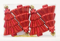 Seizis komplet bunkic v obliki dreves, 10 cm, rdeča, 4 kosi, 2 pakiranji