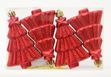 Seizis 4 fából álló készlet, 10cm, piros, 2db