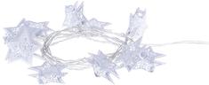 Emos LED girlanda – bílé hvězdy, 3×AA, teplá bílá, časovač