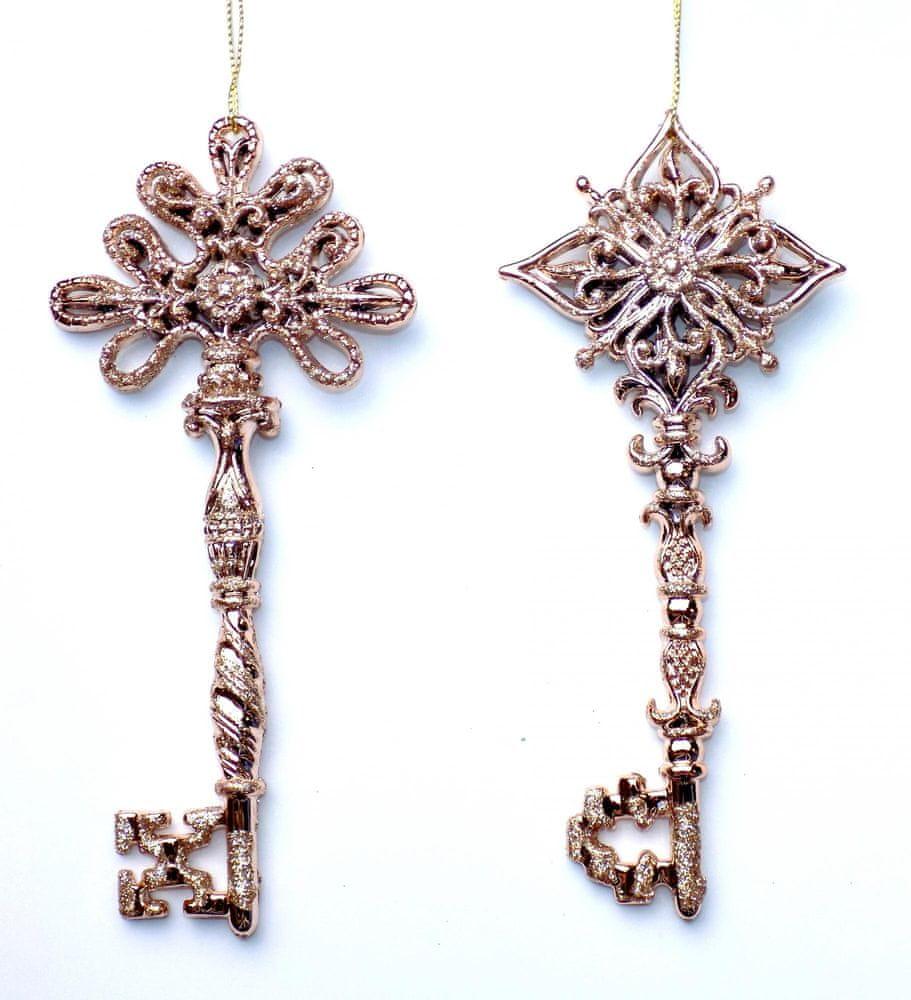 Seizis Klíč závěsný růžový s glitrem, 16cm, 2ks