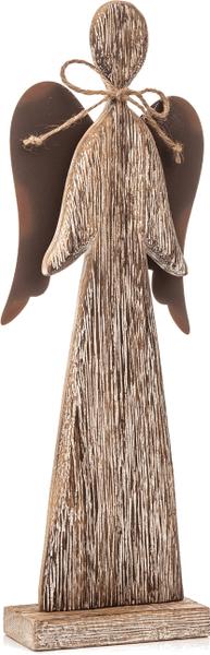 Decorium Dřevěný anděl s mašlí, patina, 30 cm
