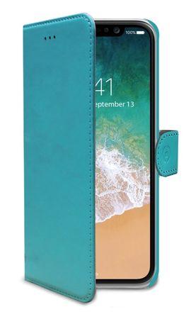 CELLY Pouzdro typu kniha Wally pro Apple iPhone 8, PU kůže, tyrkysové