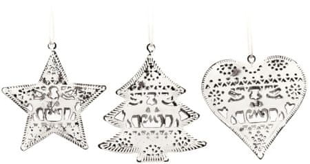 Decorium Kovinski okrasek srce, zvezda, drevo, 6 kosov