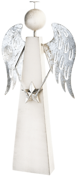 Decorium Dřevěný bílý anděl, 30 cm