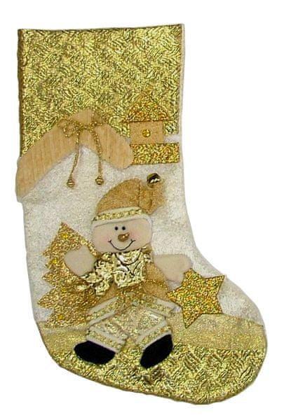 Seizis Ponožka na dárky LUX, zlatá se sněhulákem
