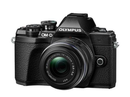 Olympus digitalni bezzrcalni fotoaparat OM-D E-M10 Mark III + 14-42 mm II R, crn