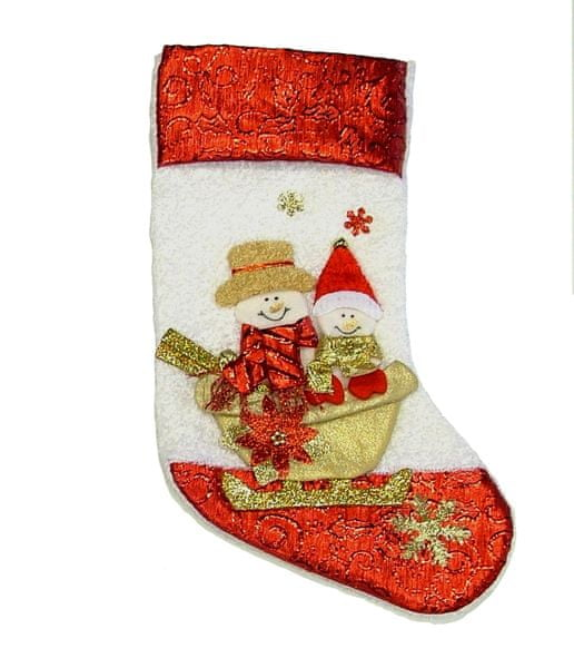 Seizis Ponožka na dárky se sněhuláky na saních, červenobílá