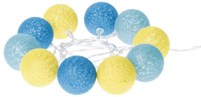 Emos LED girlanda – koule bavlněné, léto, 2×AA, teplá bílá, čas.