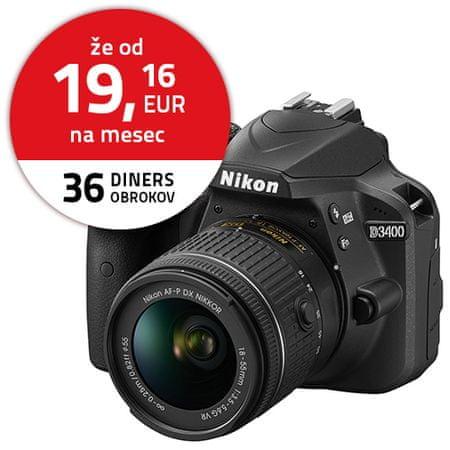 Nikon digitalni DSLR fotoaparat D3400 + AF-P 18-55VR + AF-P70-300