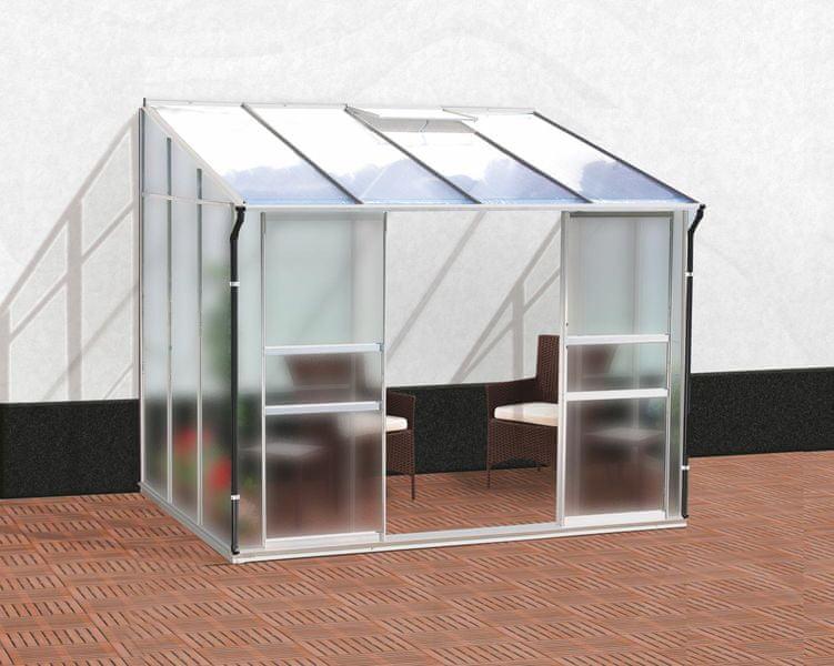 VITAVIA skleník VITAVIA IDA 5200 matné sklo 4 mm + PC 6 mm stříbrný