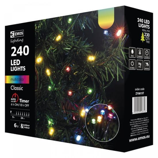 Emos Veriga s časovnikom 240 LED 24 m multicolor