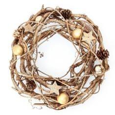 Seizis naturalny wieniec ze złotymi bombkami, 26 cm