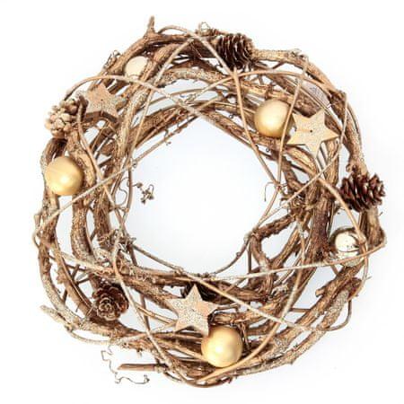 Seizis Veniec prírodný so zlatými guľami, 26cm