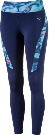 Puma legginsy sportowe Graphic Long Tight W Blue Depths Nrgy Turquise XS