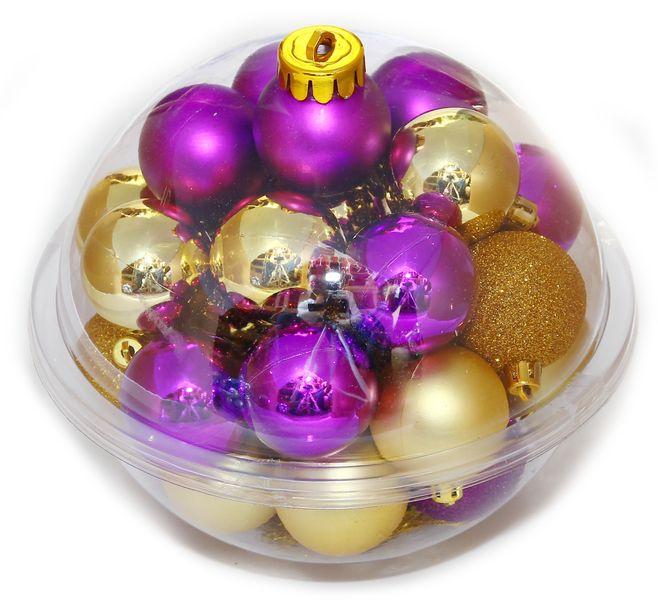 Seizis Sada koulí 32ks mix v kouli zlato-fialová