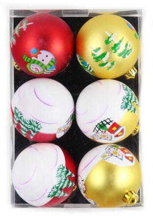 Seizis Karácsonyi mintájú gömbök 8cm, 6db
