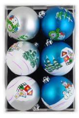 Seizis Koule s vánočním motivem 8cm, 6ks modré